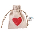 Heart Canvas Drawstring Treat Bags   12 PACK 20014