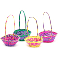 Easter Baskets Bulk | Round Multicolor Bamboo 12 PACK 3938