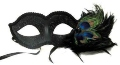 Masquerade Venetian Mask with Peacock Feathers 12 Pack