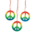 Rainbow Peace Sign Hippie Necklaces 48Ct 9909