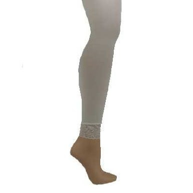 728fc25b537f70 Footless Leggings Tights White with Lace Bottom 8013