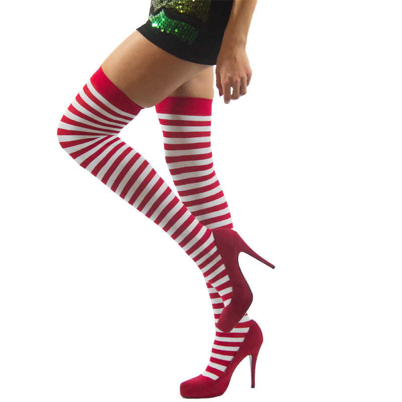 360f6503942d9 Red and White Candy Cane Striped Thigh High 8170. Price: $5.00. Image 1.  Larger / More Photos