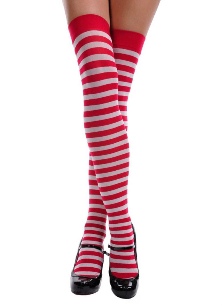 b3974cc10a47f Red and White Candy Cane Striped Thigh High 8170. -. Image 1