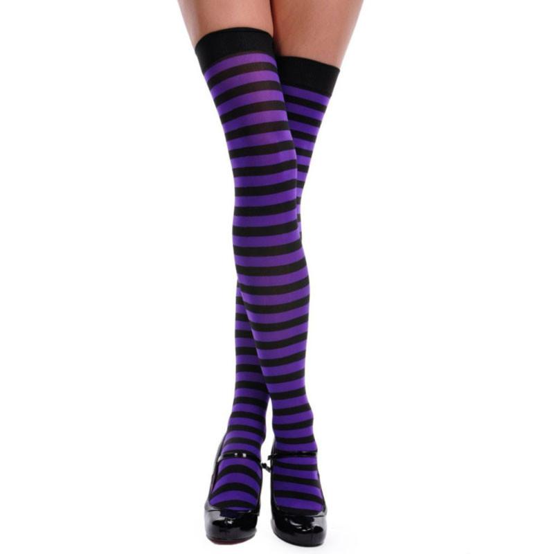 9b23596ee18bd Purple and Black Striped Thigh High 8171. -. Image 1