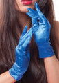 Royal Blue Short Satin Gloves 1208
