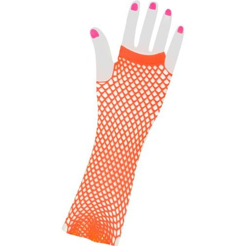 38734d867be60 80's Long Fishnet Gloves - Neon Orange 1231