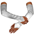 White Satin Gauntlet Fingerless Gloves 5084