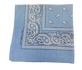 "12 PACK Light Blue Paisley Bandanna 22"" Square Standard 100% Cotton 1913DZ"