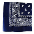 "Navy Paisley Bandanna 22"" Square Standard 100% Cotton 12 PACK 1915DZ"