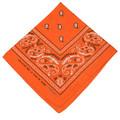 "Orange Paisley Bandanna 22"" Square Standard 100% Cotton 12 PACK 1916DZ"