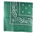 "Forest Green Paisley Bandanna 22"" Square Standard 100% Cotton 1927 12 PACK"