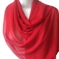 Red Long Sheer Chiffon Scarf 2133