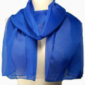 Royal Blue Long Sheer Chiffon Scarf 2134