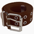 Grommet Belt Brown Canvas Two Silver Hole 2260-2263