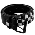 White and Black Checkerboard Studded Belt - Black 2524-2527