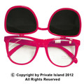 Flip Up Sunglasses 80's Hot Pink Wayfarer Style 1047
