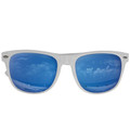12 PACK Blue Mirror Lens White Frame Wayfarer Adult 1064