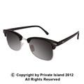 Black Half Frame Sunglasses | Adult Vintage Style Black/Black Lens 1072