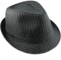 Pinstripe Gangster Fedora Hat Black 12 PACK 1317