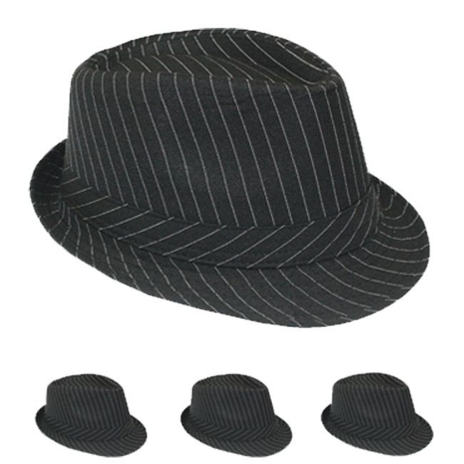 e98791d5b82 Pinstripe Gangster Fedora Hat Black 12 PACK 1317 - Private Island Party