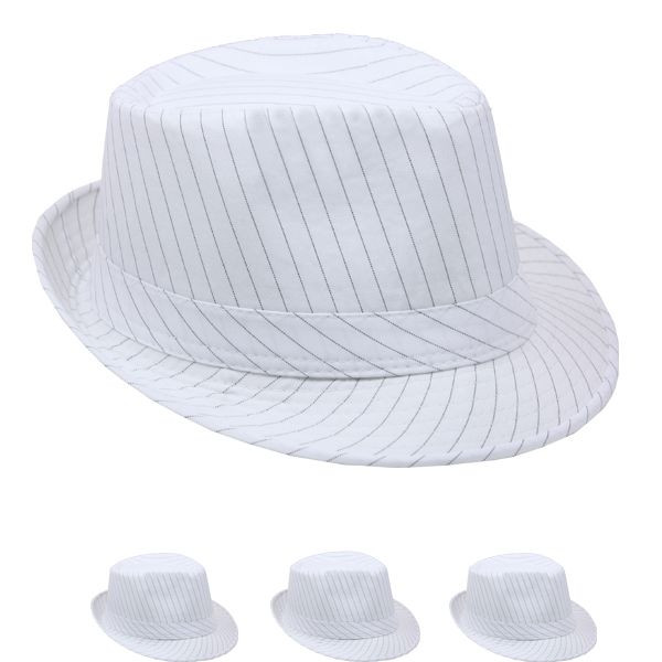 e4e675638d2 Fedora Hat White Gangster Pinstripe 12 PACK 1318 - Private Island Party