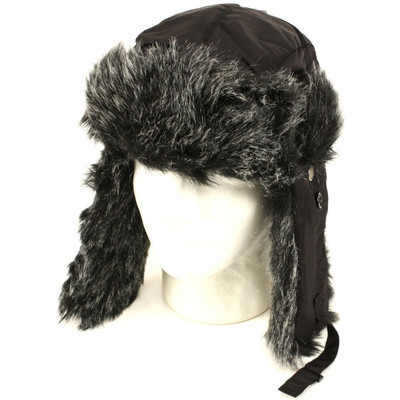 5add288a91e8d Trooper Trapper Hat Black with Grey Faux Fur 5830 - Private Island Party