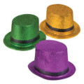 Glitter Top Hat Mardi Gras Purple 5872