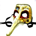 Red and Gold Ornate Long Nose Mask 1840