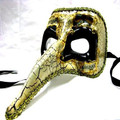 Black and Gold Ornate Long Nose Mask 1841