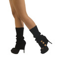 Black Knit Leg Warmers with Button Trim 1258