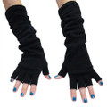 Black Long Fingerless Knit Gloves 5010