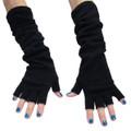 Black Long Fingerless Knit Gloves 12 PACK  5010