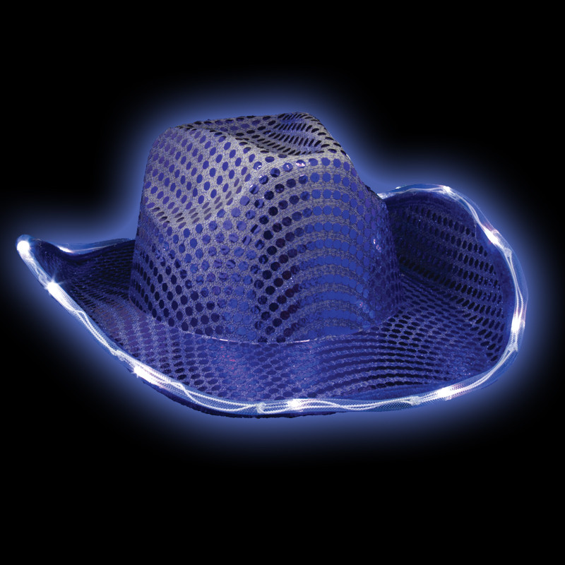 Blue Flashing LED Sequin Cowboy Hat 5893 c9efb32de7ac
