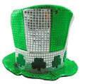 Shamrock White/Green w/ Silver Sequin Top Hat 5888