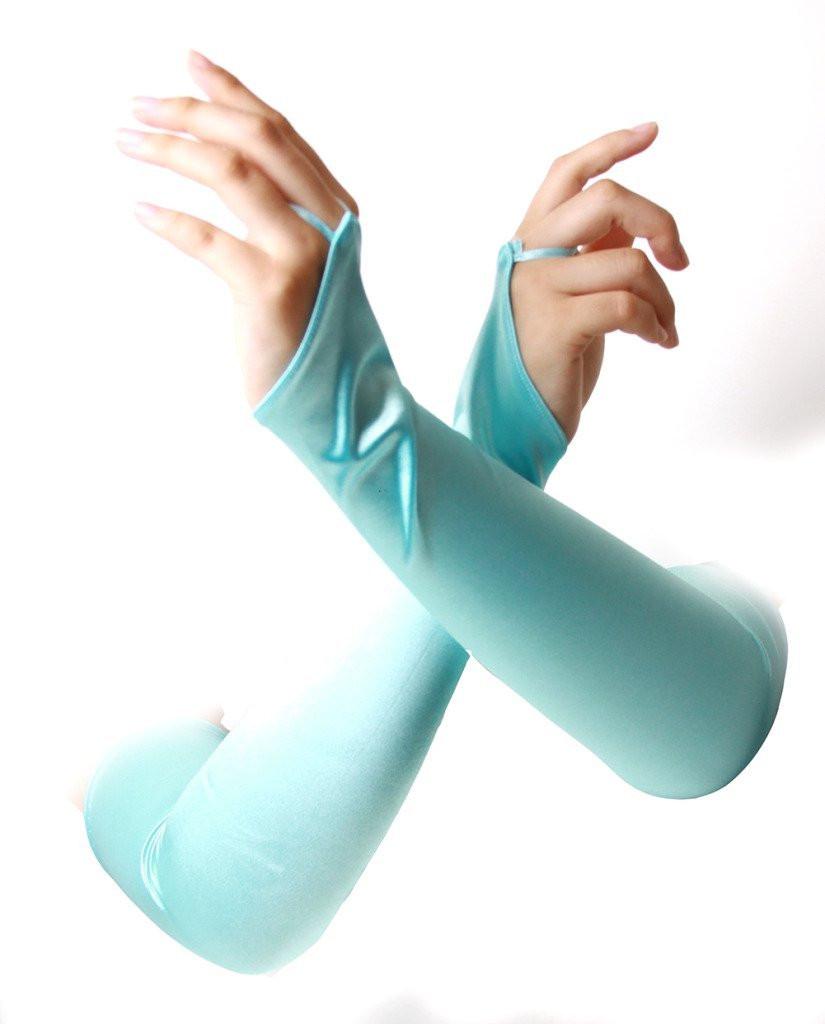Satin Gauntlet Fingerless Gloves Light Blue 5089