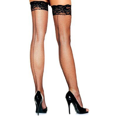 6f1ec58a67ab7 Black Fishnet Thigh High Stockings with Lace Top 8035