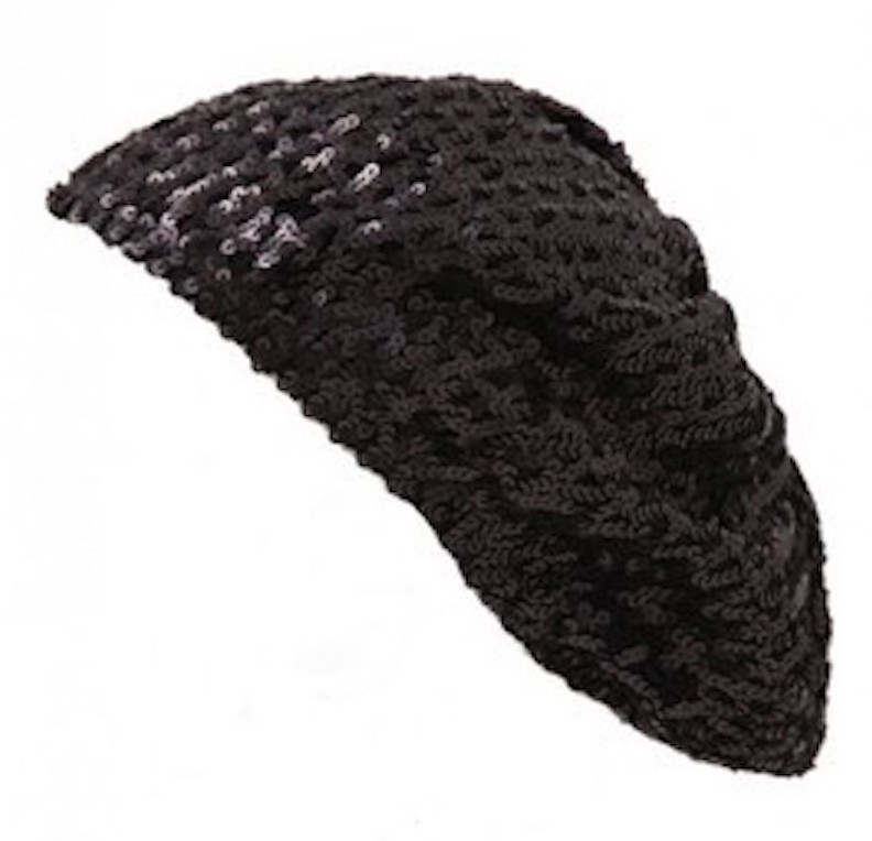 Black Sequined Sparkle Berets 1377 - Private Island Party 452aa068cae8