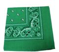 "Green Paisley Bandanna 22"" Square Standard 100% Cotton 1930DZ"