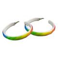 80's Party Costume Rainbow Hoop Earrings Pair 6522