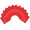 Bulk Red Bandannas | Wholesale Red Bandannas | 12 PACK 1919D