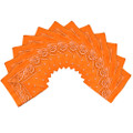 "Orange Bandana 22"" Paisley Cotton 12 PACK 1916D"
