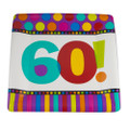 "60th Birthday Square Paper Plates 10"" Dots and Stripes Pattern  3822"