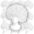 White Costume Afro Wig 12PK  6016D