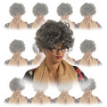 Grey Curly Mom Wig 12PK  6039D