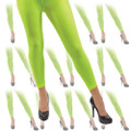 Neon Green Footless Tights 12 PACK 8015D