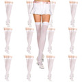 White Opaque Thigh High Stockings 12 PACK 8028D