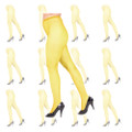 Yellow Fishnet Pantyhose Tights 12 PACK 8044D