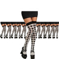 White and Black Thigh Highs Harlequin 12PK  8147D
