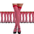 Red White Thigh Highs Candy Cane Striped 12PK  8170D