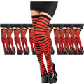 Red and Black Thigh Highs Striped  12PK 8172D